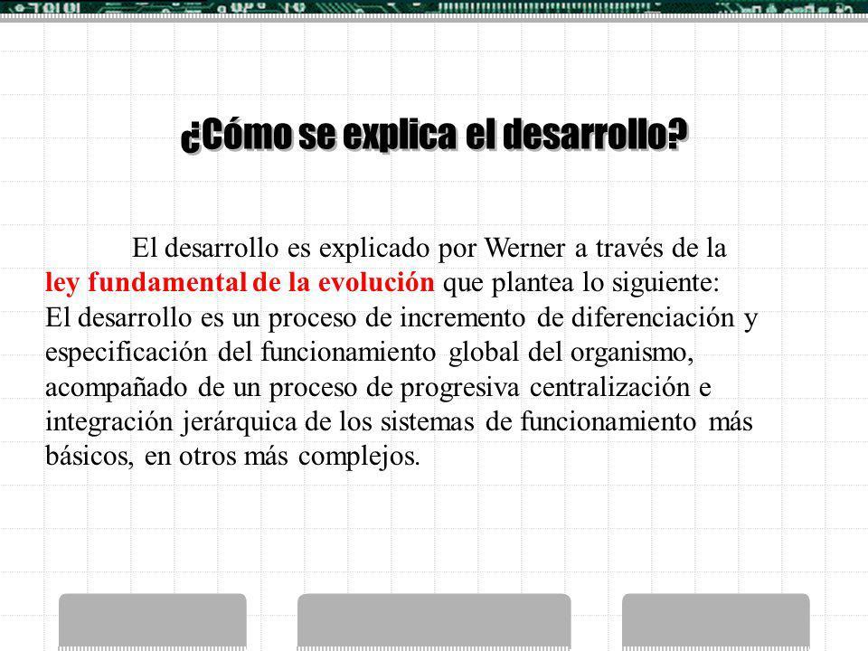 ¿Cómo se explica el desarrollo? El desarrollo es explicado por Werner a través de la ley fundamental de la evolución que plantea lo siguiente: El desa