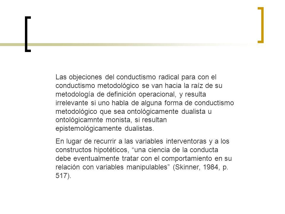 Las objeciones del conductismo radical para con el conductismo metodológico se van hacia la raíz de su metodología de definición operacional, y result