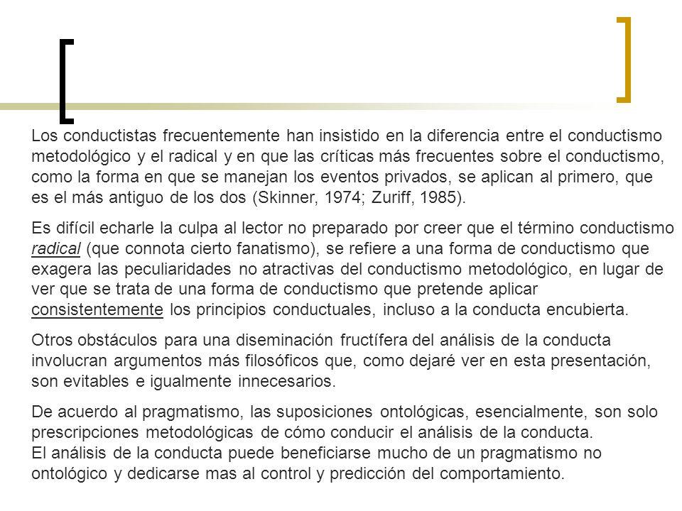 Pragmatismo El conductismo radical ha sido influido considerablemente por la filosofía del pragmatismo (Moore, 2003; Moxley, 2004).
