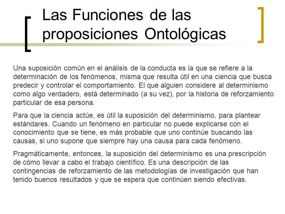 Las Funciones de las proposiciones Ontológicas Una suposición común en el análisis de la conducta es la que se refiere a la determinación de los fenóm