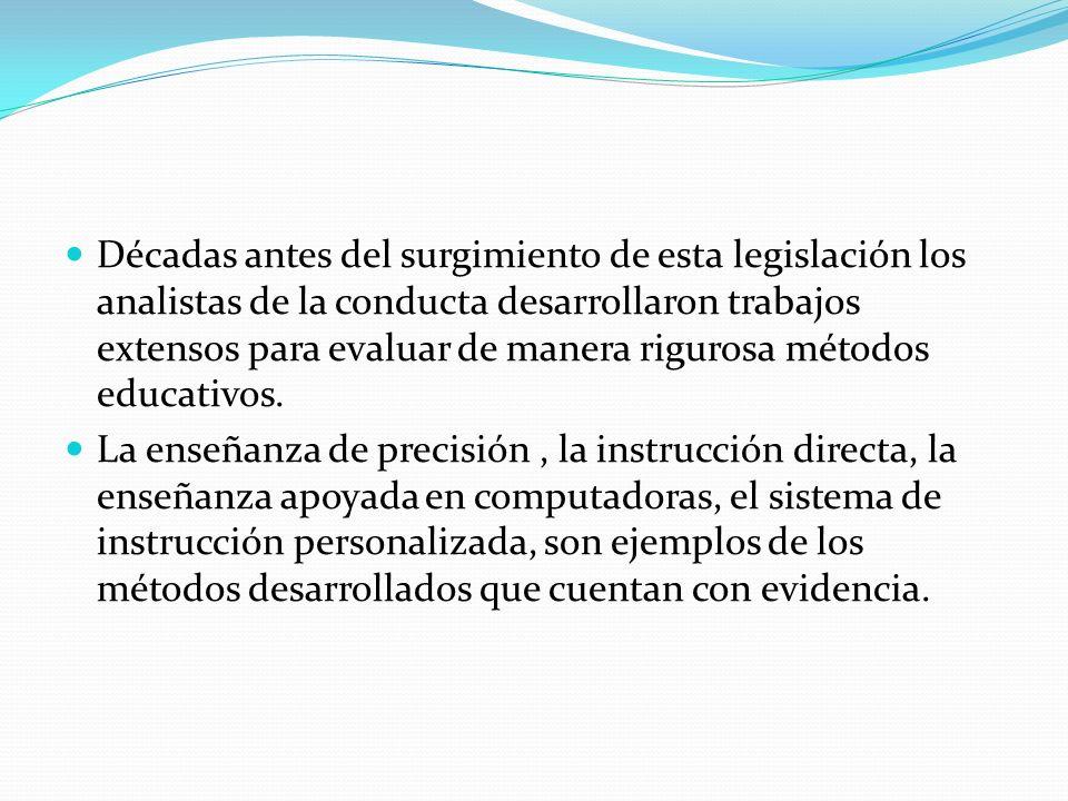 Décadas antes del surgimiento de esta legislación los analistas de la conducta desarrollaron trabajos extensos para evaluar de manera rigurosa métodos