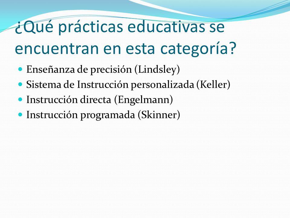¿Qué prácticas educativas se encuentran en esta categoría? Enseñanza de precisión (Lindsley) Sistema de Instrucción personalizada (Keller) Instrucción