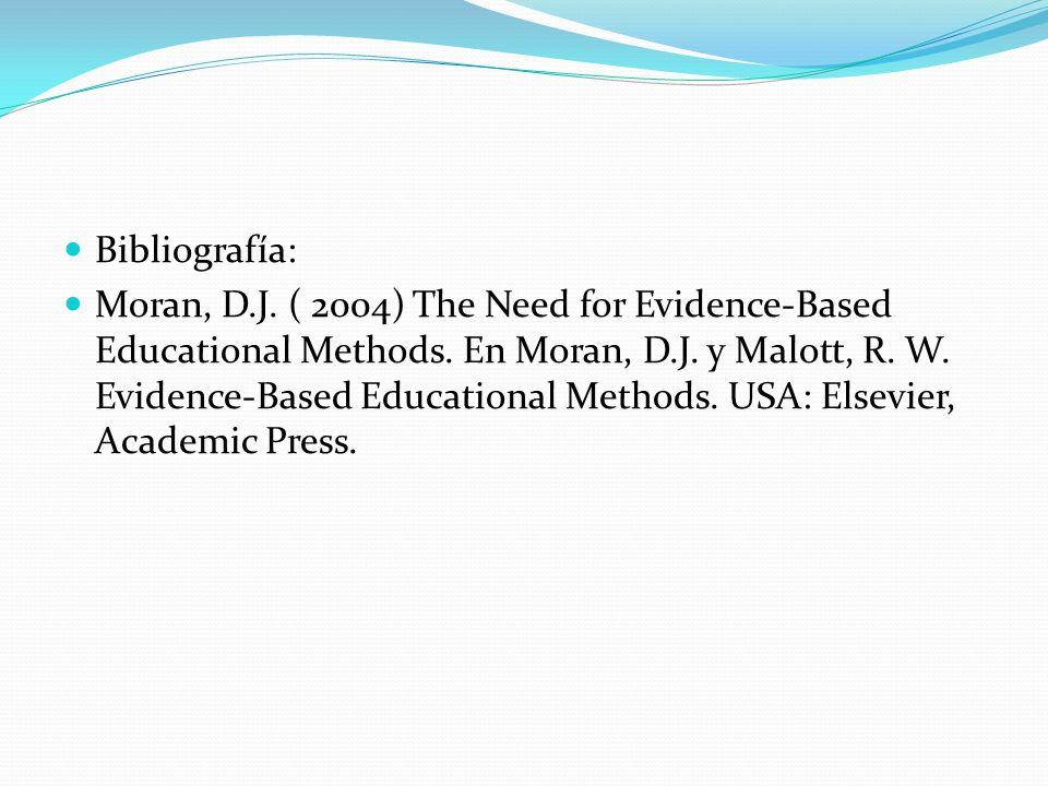 Bibliografía: Moran, D.J. ( 2004) The Need for Evidence-Based Educational Methods. En Moran, D.J. y Malott, R. W. Evidence-Based Educational Methods.