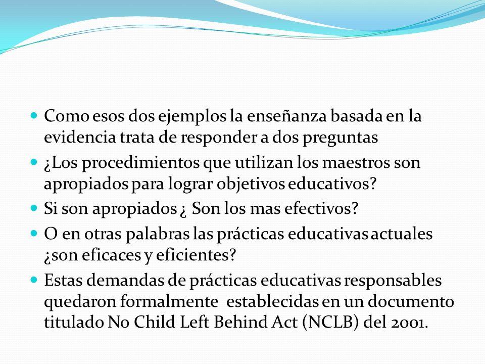 No Child Left Behind Act En el Acta promulgada por George Bush en 8 de enero del 2002 se legisla que las prácticas pedagógicas utilizadas en Estados Unidos deben demostrar de manera cuantificable los efectos que ellas tienen en el aprendizaje de los niños.