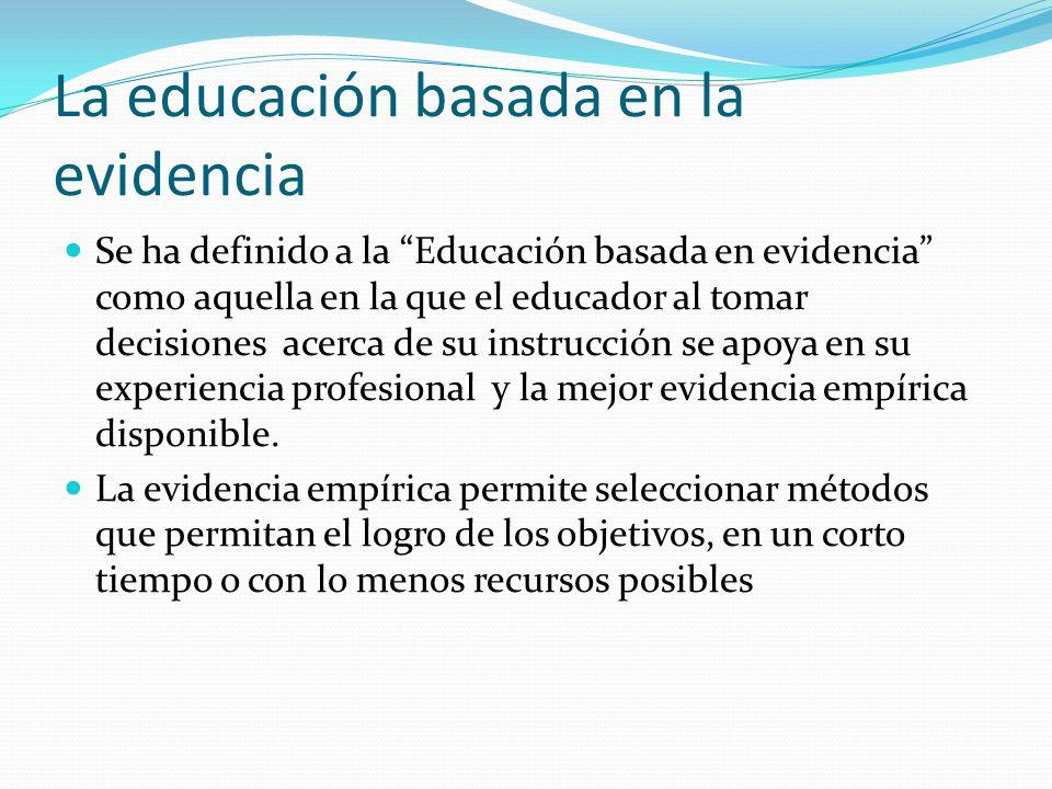 La educación basada en la evidencia Se ha definido a la Educación basada en evidencia como aquella en la que el educador al tomar decisiones acerca de