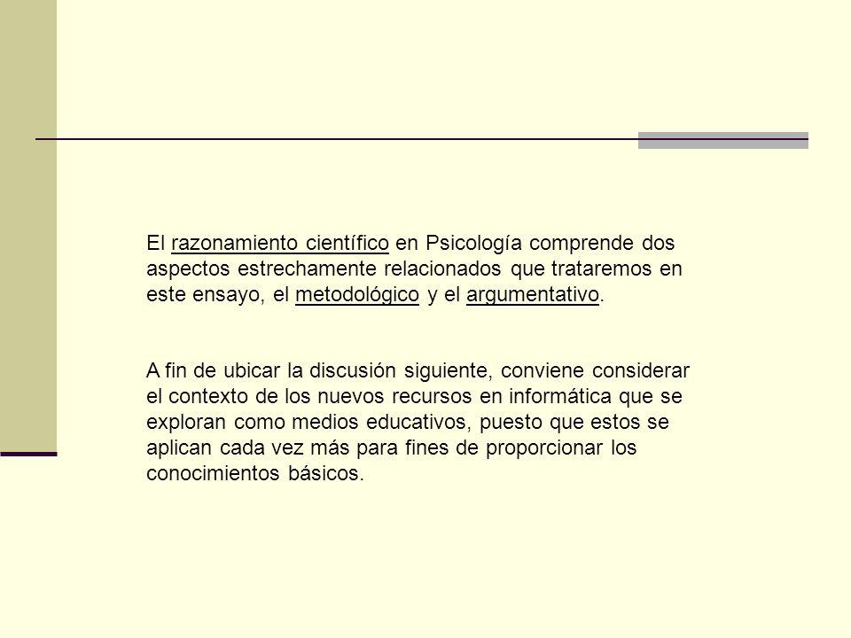 El razonamiento científico en Psicología comprende dos aspectos estrechamente relacionados que trataremos en este ensayo, el metodológico y el argumen