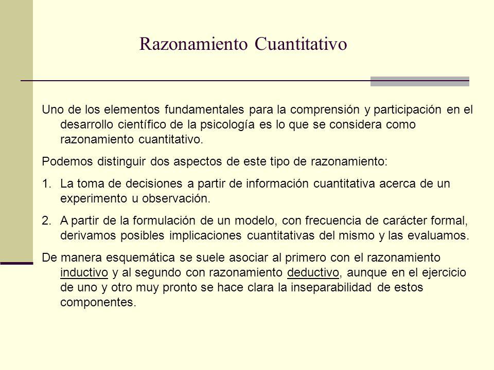 Razonamiento Cuantitativo Uno de los elementos fundamentales para la comprensión y participación en el desarrollo científico de la psicología es lo qu