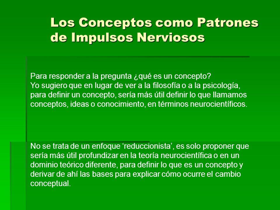 Los Conceptos como Patrones de Impulsos Nerviosos Para responder a la pregunta ¿qué es un concepto? Yo sugiero que en lugar de ver a la filosofía o a