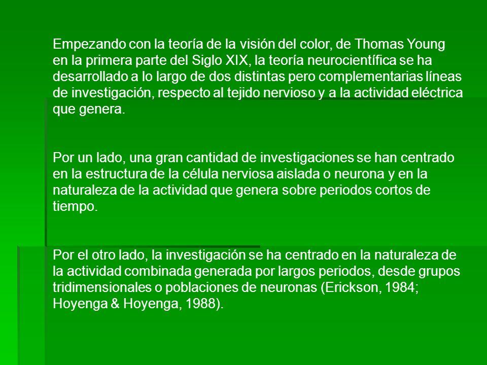Empezando con la teoría de la visión del color, de Thomas Young en la primera parte del Siglo XIX, la teoría neurocientífica se ha desarrollado a lo l