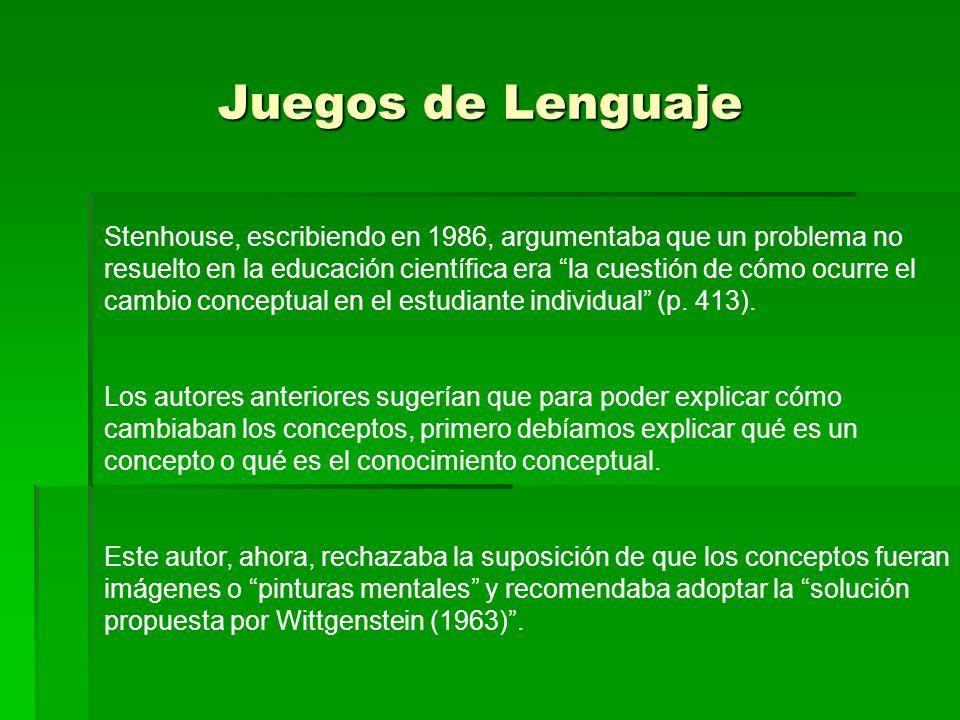 De acuerdo con Stenhouse, la solución de Wittgenstein es que tener un concepto o conocer el significado de una palabra es conocer las reglas de uso para esa palabra (símbolo o concepto) en un juego de lenguaje (Stenhause, 1986, p.