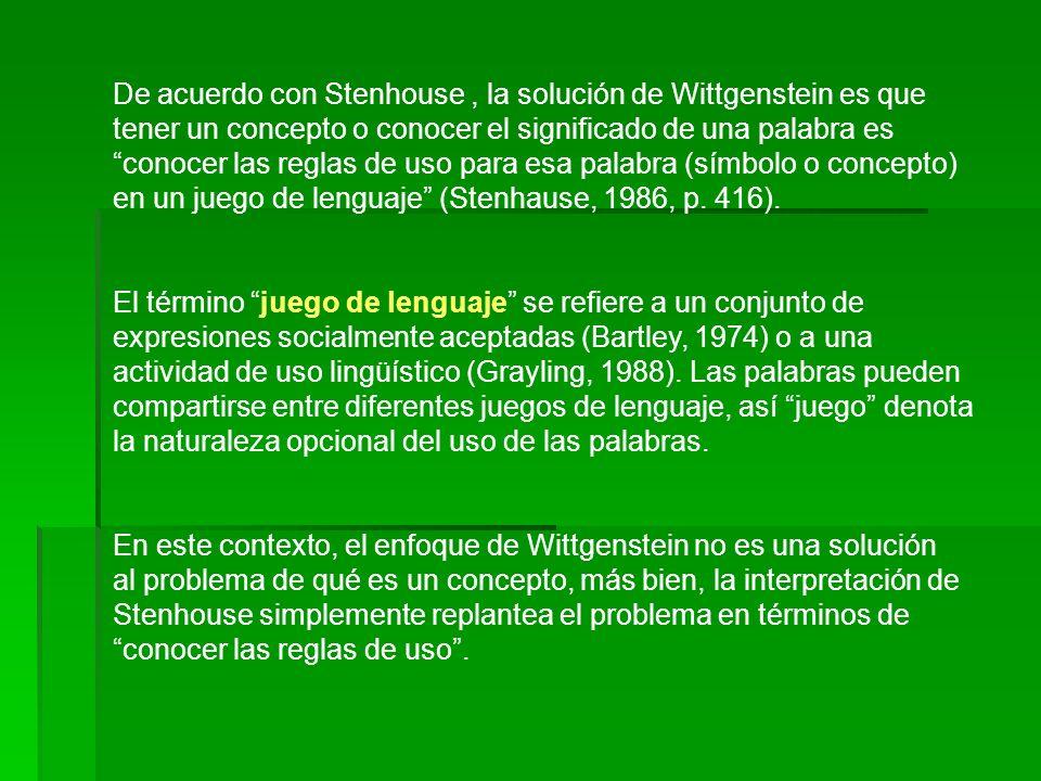De acuerdo con Stenhouse, la solución de Wittgenstein es que tener un concepto o conocer el significado de una palabra es conocer las reglas de uso pa