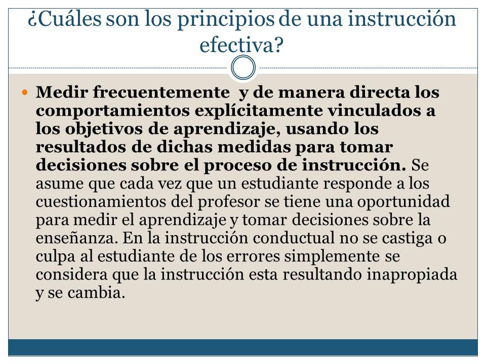 Medir frecuentemente y de manera directa los comportamientos explícitamente vinculados a los objetivos de aprendizaje, usando los resultados de dichas medidas para tomar decisiones sobre el proceso de instrucción.