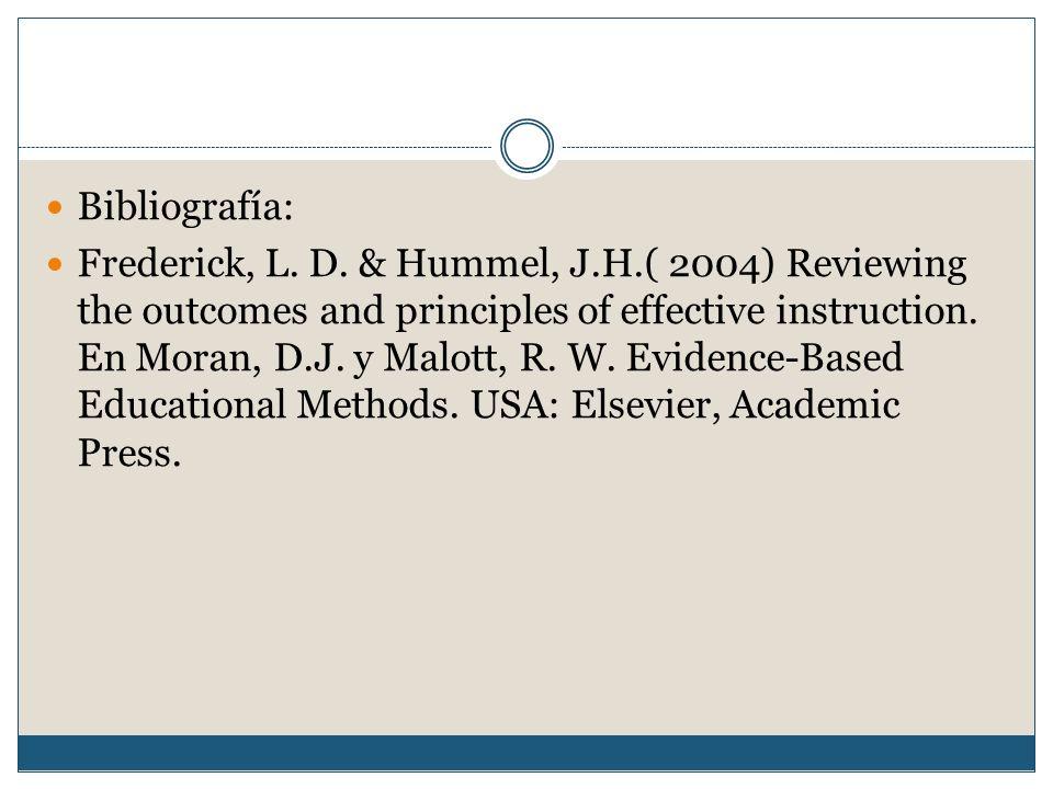 Bibliografía: Frederick, L. D.