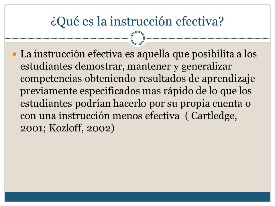 ¿Qué es la instrucción efectiva.