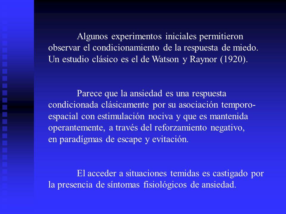 Algunos experimentos iniciales permitieron observar el condicionamiento de la respuesta de miedo. Un estudio clásico es el de Watson y Raynor (1920).