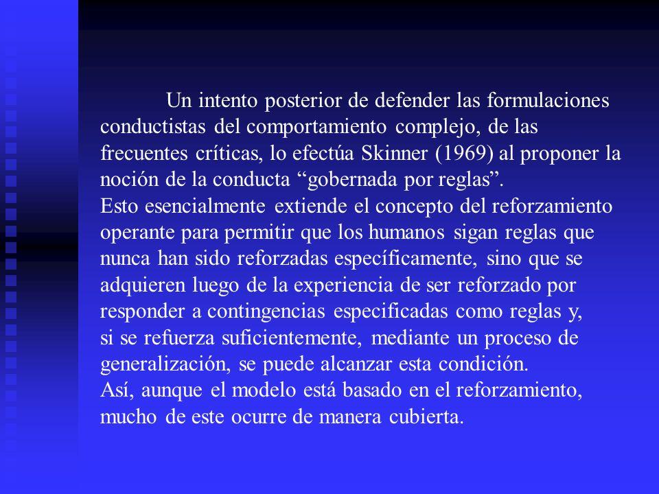 Un intento posterior de defender las formulaciones conductistas del comportamiento complejo, de las frecuentes críticas, lo efectúa Skinner (1969) al