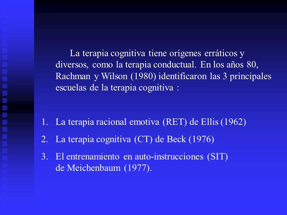 La terapia cognitiva tiene orígenes erráticos y diversos, como la terapia conductual. En los años 80, Rachman y Wilson (1980) identificaron las 3 prin