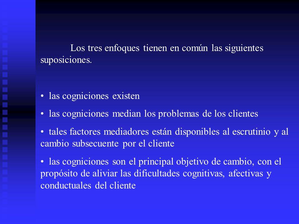 Los tres enfoques tienen en común las siguientes suposiciones. las cogniciones existen las cogniciones median los problemas de los clientes tales fact