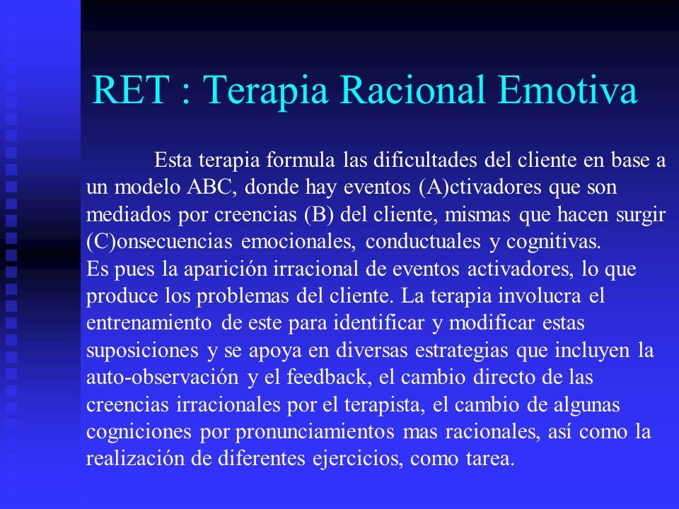 RET : Terapia Racional Emotiva Esta terapia formula las dificultades del cliente en base a un modelo ABC, donde hay eventos (A)ctivadores que son medi