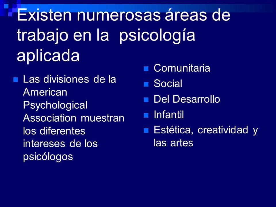Existen numerosas áreas de trabajo en la psicología aplicada Comunitaria Social Del Desarrollo Infantil Estética, creatividad y las artes Las division