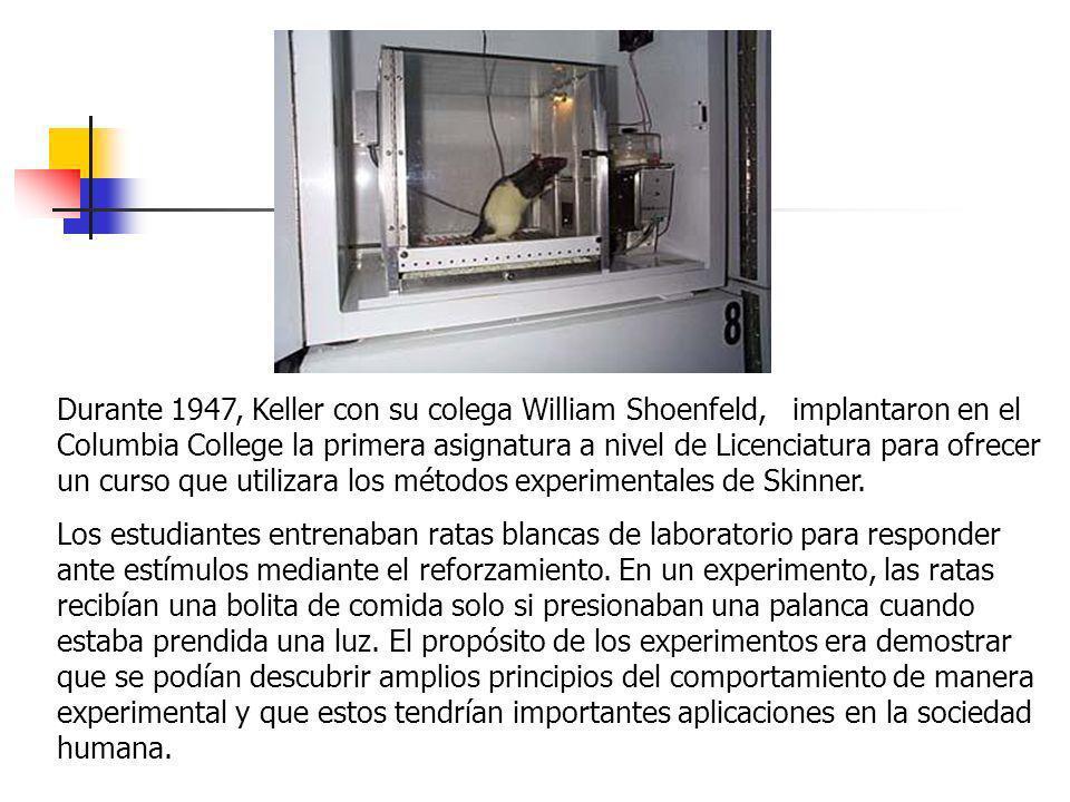 Durante 1947, Keller con su colega William Shoenfeld, implantaron en el Columbia College la primera asignatura a nivel de Licenciatura para ofrecer un