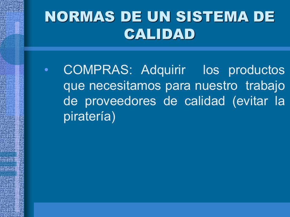NORMAS DE UN SISTEMA DE CALIDAD COMPRAS: Adquirir los productos que necesitamos para nuestro trabajo de proveedores de calidad (evitar la piratería)