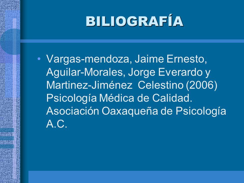 BILIOGRAFÍA Vargas-mendoza, Jaime Ernesto, Aguilar-Morales, Jorge Everardo y Martinez-Jiménez Celestino (2006) Psicología Médica de Calidad. Asociació