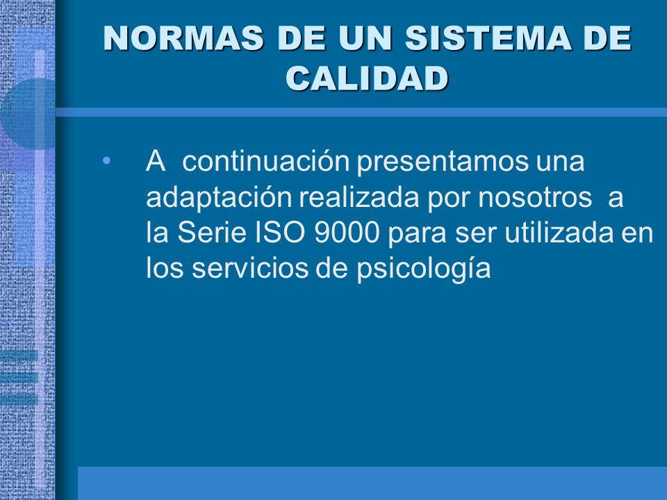 NORMAS DE UN SISTEMA DE CALIDAD A continuación presentamos una adaptación realizada por nosotros a la Serie ISO 9000 para ser utilizada en los servici