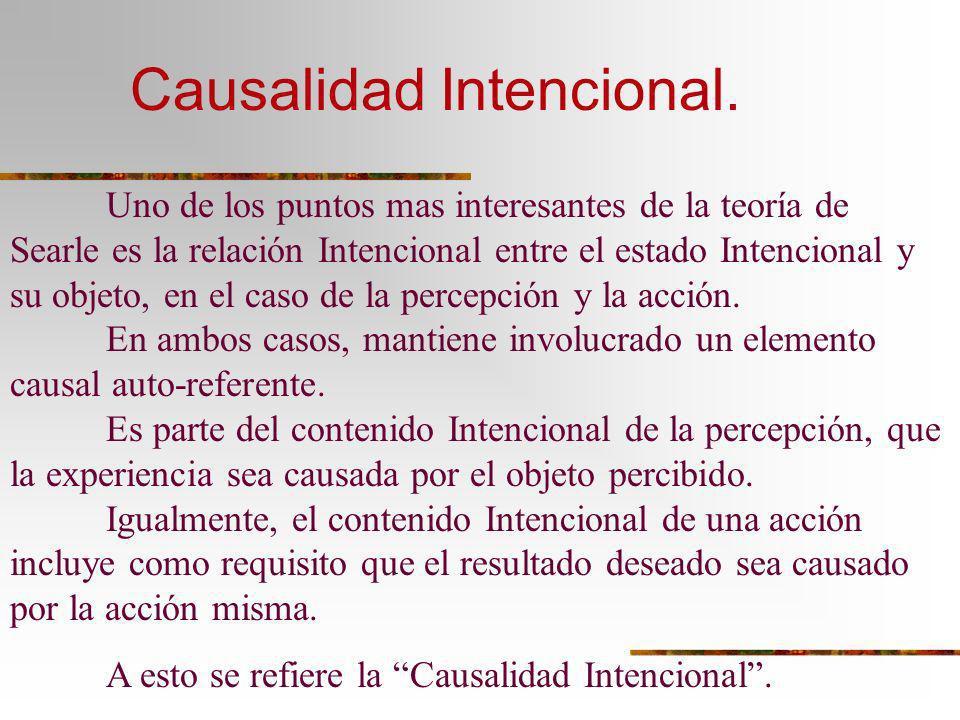 Causalidad Intencional. Uno de los puntos mas interesantes de la teoría de Searle es la relación Intencional entre el estado Intencional y su objeto,