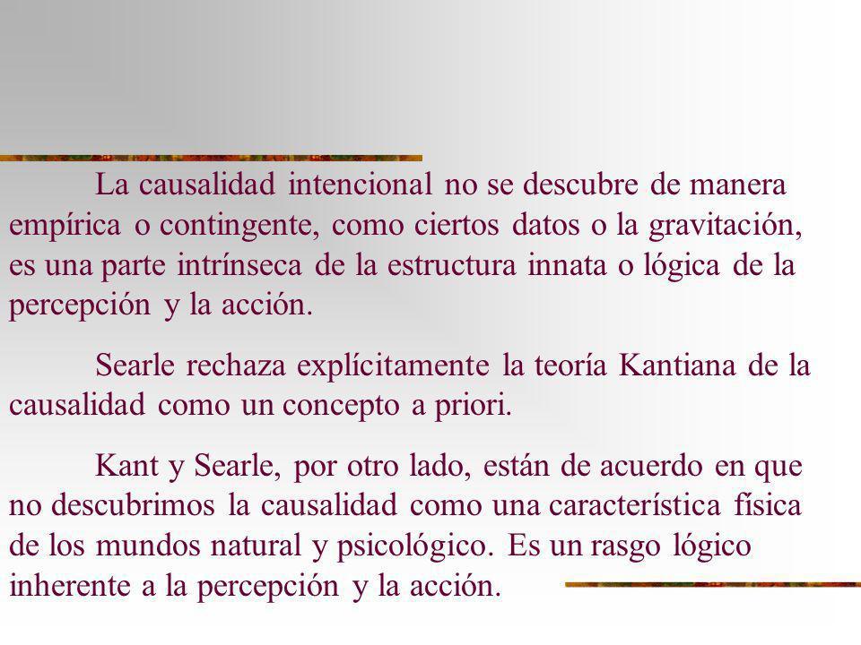 La causalidad intencional no se descubre de manera empírica o contingente, como ciertos datos o la gravitación, es una parte intrínseca de la estructu