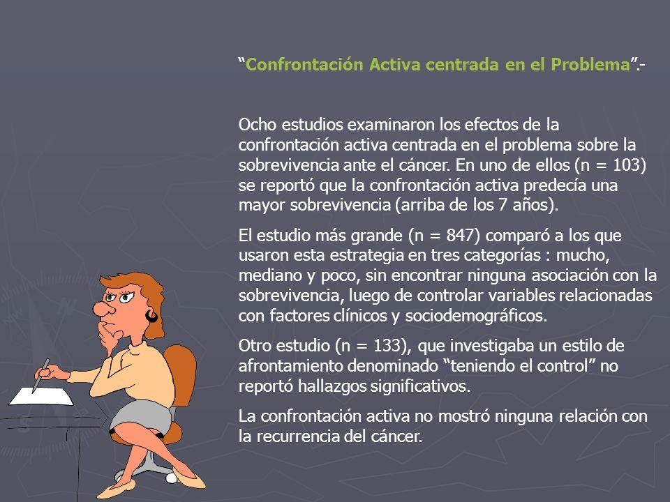 Confrontación Activa centrada en el Problema.- Ocho estudios examinaron los efectos de la confrontación activa centrada en el problema sobre la sobrev
