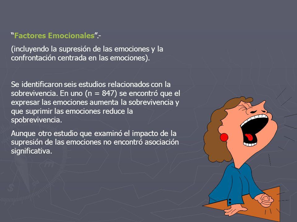 Factores Emocionales.- (incluyendo la supresión de las emociones y la confrontación centrada en las emociones). Se identificaron seis estudios relacio