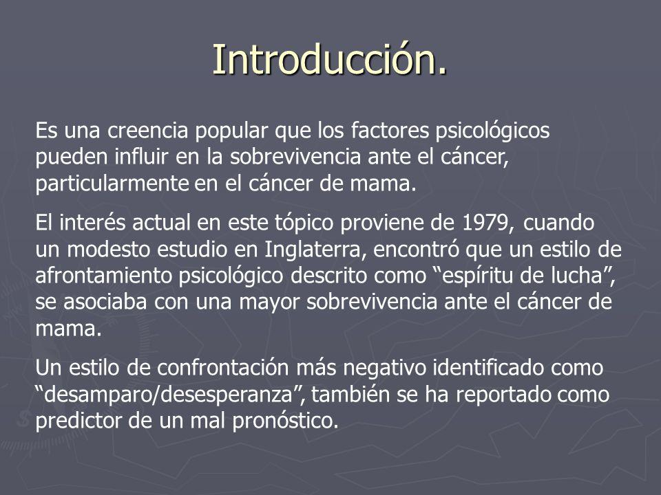 Introducción. Es una creencia popular que los factores psicológicos pueden influir en la sobrevivencia ante el cáncer, particularmente en el cáncer de