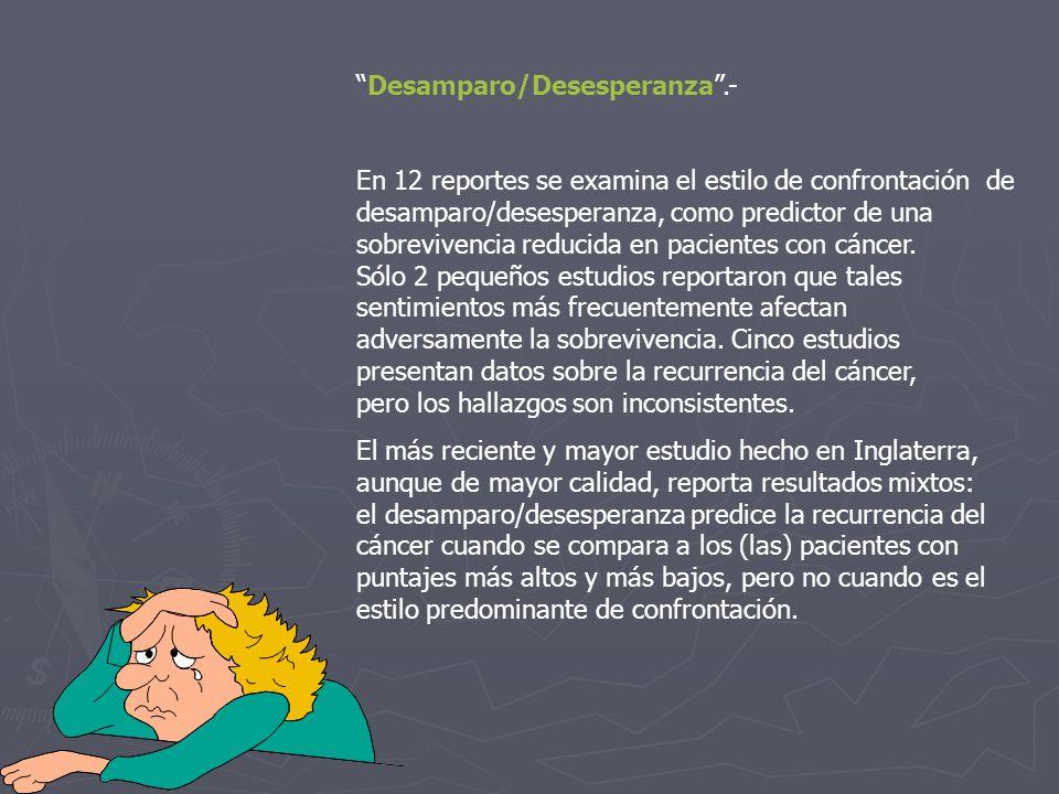 Desamparo/Desesperanza.- En 12 reportes se examina el estilo de confrontación de desamparo/desesperanza, como predictor de una sobrevivencia reducida