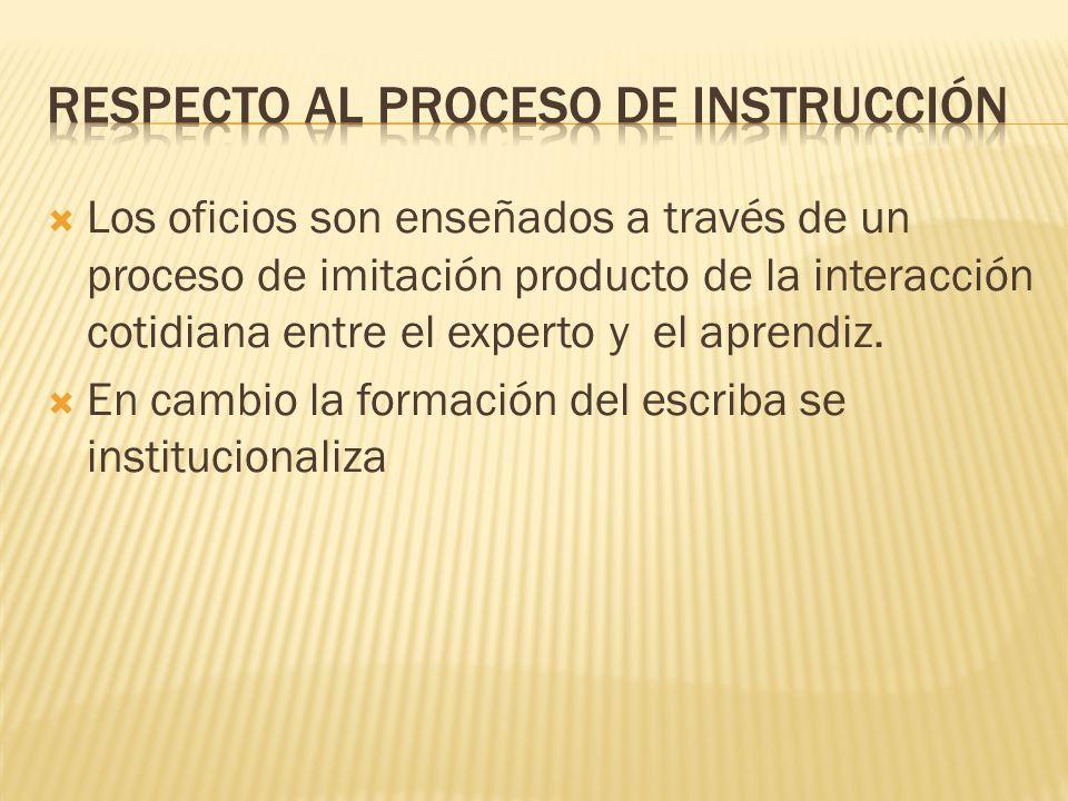 Los oficios son enseñados a través de un proceso de imitación producto de la interacción cotidiana entre el experto y el aprendiz. En cambio la formac