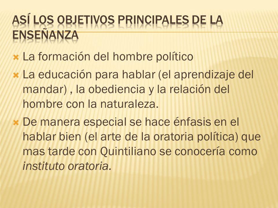 La formación del hombre político La educación para hablar (el aprendizaje del mandar), la obediencia y la relación del hombre con la naturaleza. De ma
