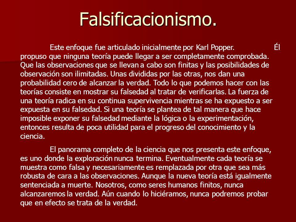 El problema con el falsificacionismo es el mismo que con el inductivismo (que la teoría depende de la observación) ¿cómo podemos afirmar que una observación demuestra la falsedad de una teoría.