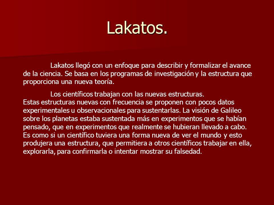 Lakatos. Lakatos llegó con un enfoque para describir y formalizar el avance de la ciencia. Se basa en los programas de investigación y la estructura q