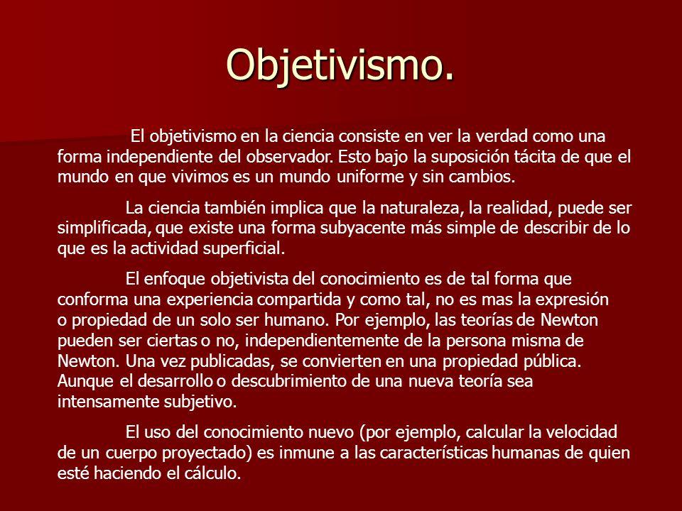 Objetivismo. El objetivismo en la ciencia consiste en ver la verdad como una forma independiente del observador. Esto bajo la suposición tácita de que