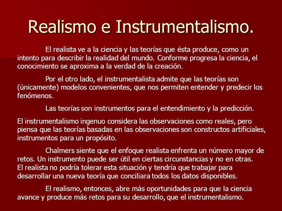 Realismo e Instrumentalismo. El realista ve a la ciencia y las teorías que ésta produce, como un intento para describir la realidad del mundo. Conform