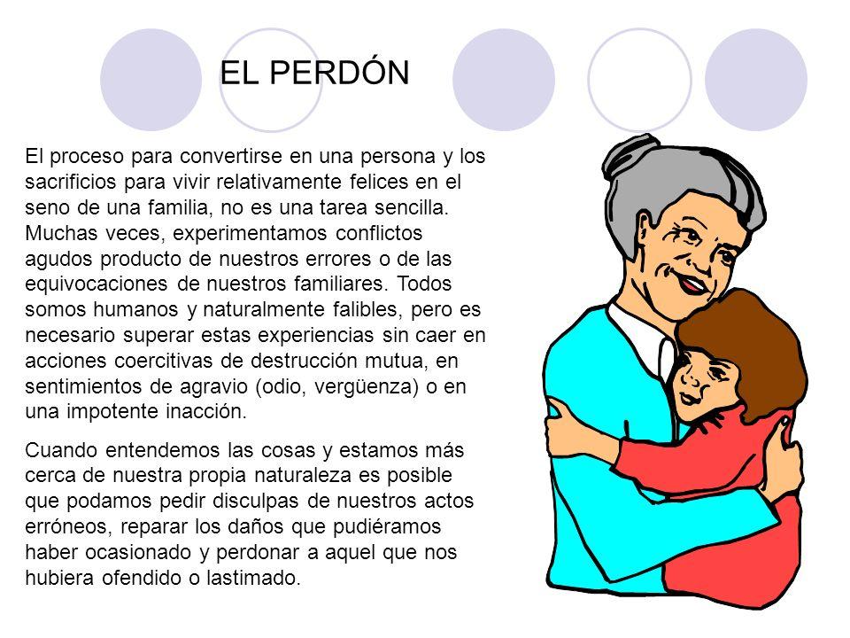 EL PERDÓN El proceso para convertirse en una persona y los sacrificios para vivir relativamente felices en el seno de una familia, no es una tarea sen