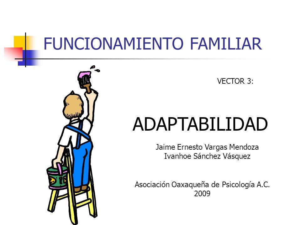 FUNCIONAMIENTO FAMILIAR VECTOR 3: ADAPTABILIDAD Jaime Ernesto Vargas Mendoza Ivanhoe Sánchez Vásquez Asociación Oaxaqueña de Psicología A.C. 2009