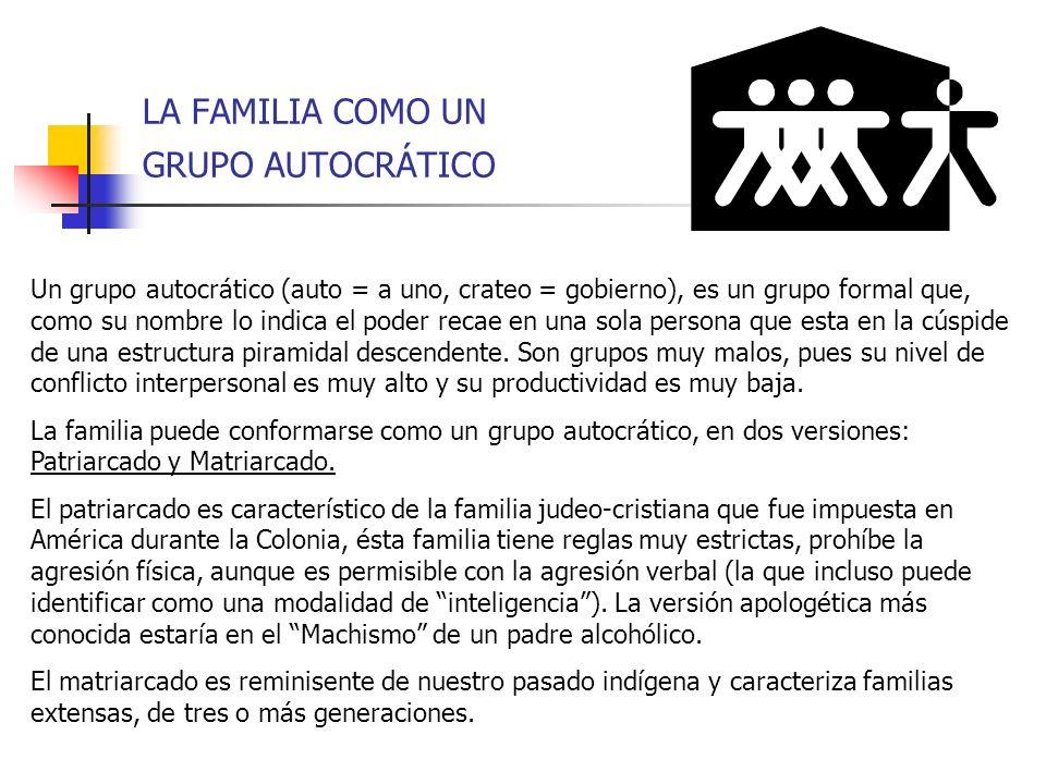 LA FAMILIA COMO UN GRUPO AUTOCRÁTICO Un grupo autocrático (auto = a uno, crateo = gobierno), es un grupo formal que, como su nombre lo indica el poder