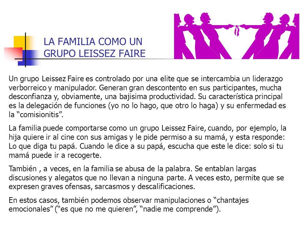 LA FAMILIA COMO UN GRUPO LEISSEZ FAIRE Un grupo Leissez Faire es controlado por una elite que se intercambia un liderazgo verborreico y manipulador. G