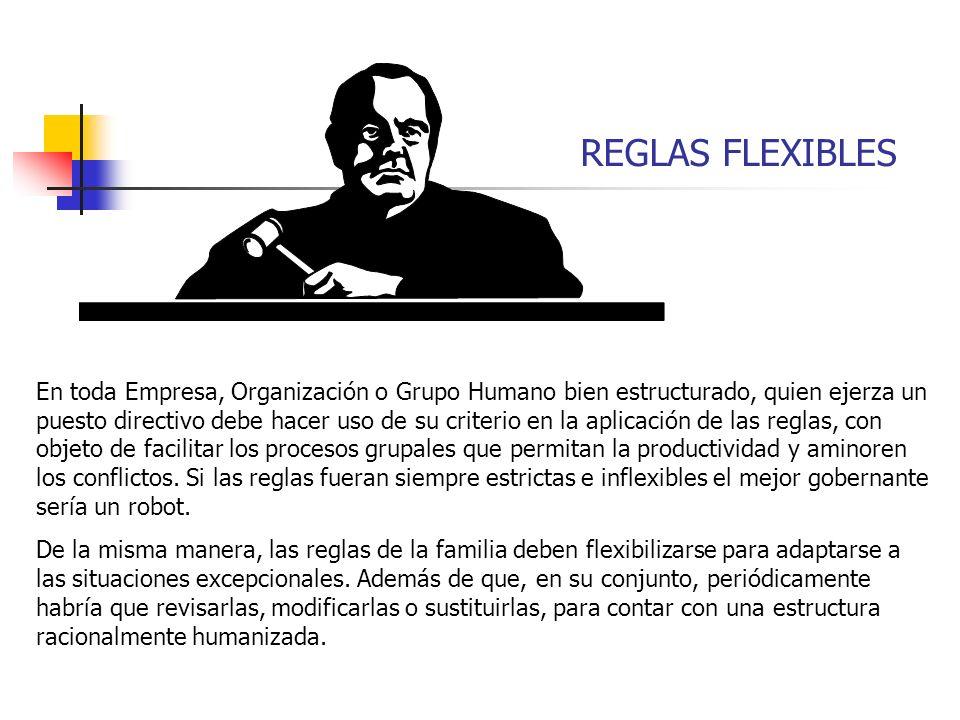 REGLAS FLEXIBLES En toda Empresa, Organización o Grupo Humano bien estructurado, quien ejerza un puesto directivo debe hacer uso de su criterio en la