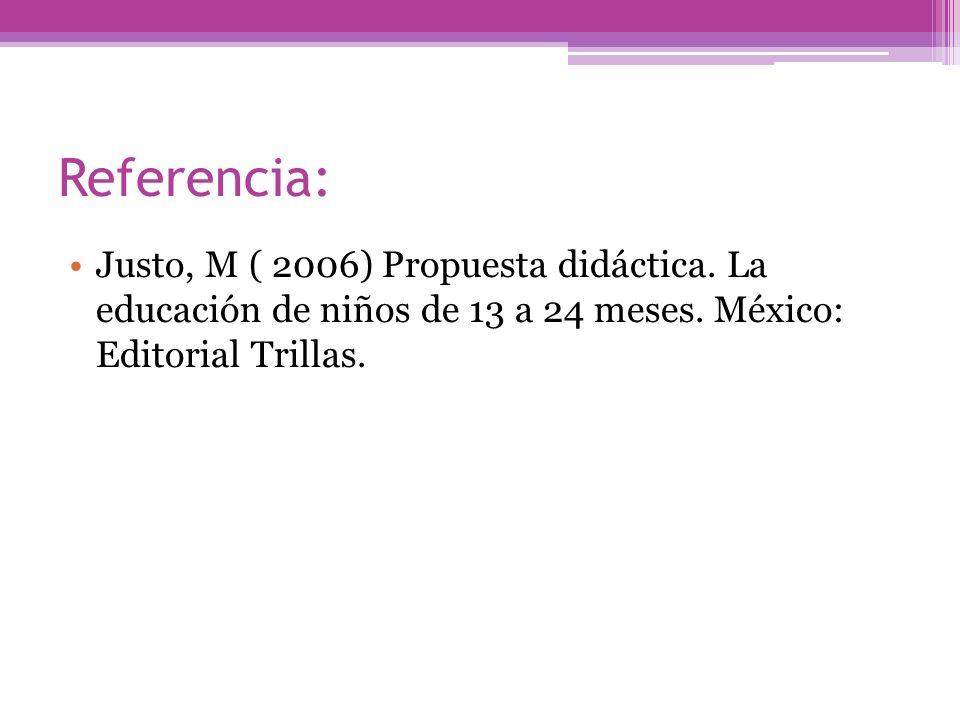 Referencia: Justo, M ( 2006) Propuesta didáctica. La educación de niños de 13 a 24 meses. México: Editorial Trillas.