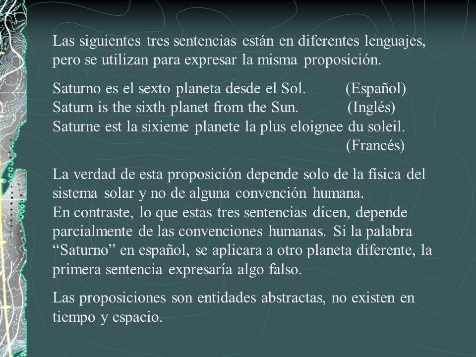 Las siguientes tres sentencias están en diferentes lenguajes, pero se utilizan para expresar la misma proposición. Saturno es el sexto planeta desde e