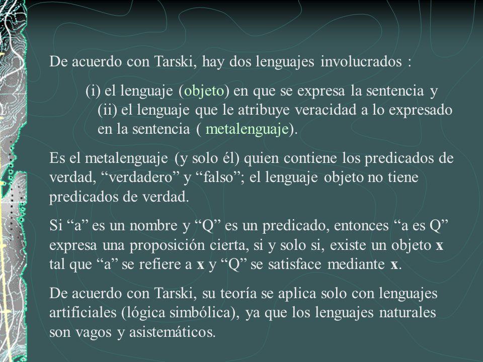 De acuerdo con Tarski, hay dos lenguajes involucrados : (i) el lenguaje (objeto) en que se expresa la sentencia y (ii) el lenguaje que le atribuye ver