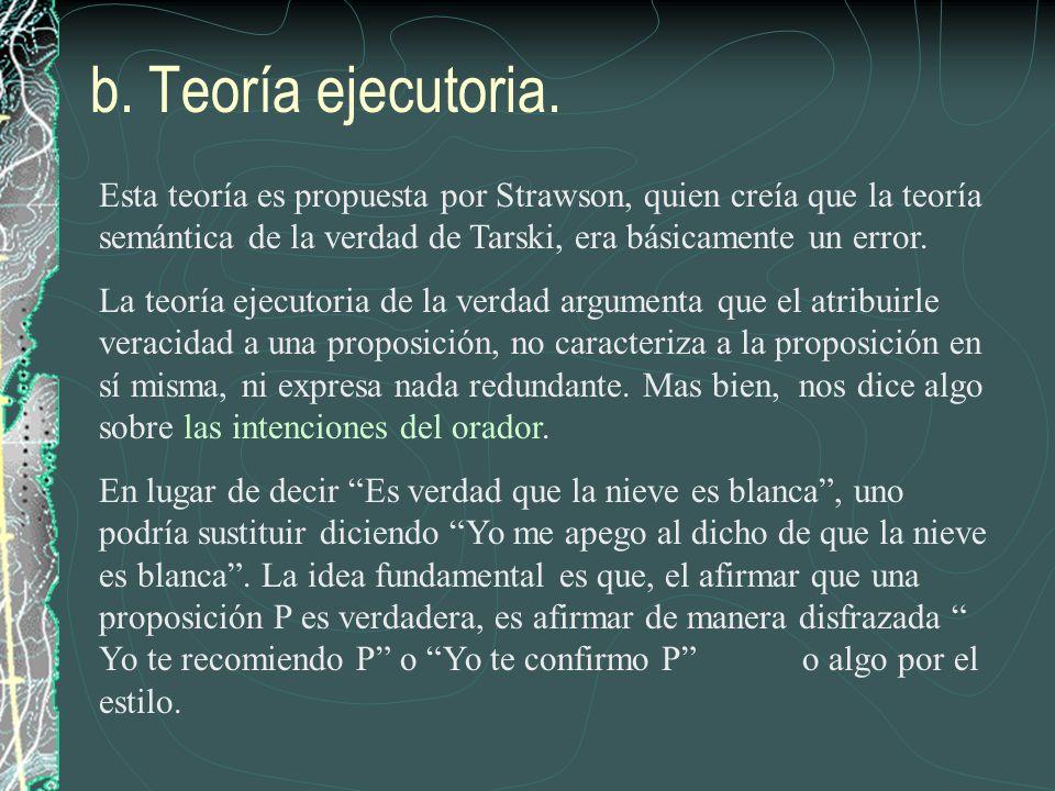 b. Teoría ejecutoria. Esta teoría es propuesta por Strawson, quien creía que la teoría semántica de la verdad de Tarski, era básicamente un error. La