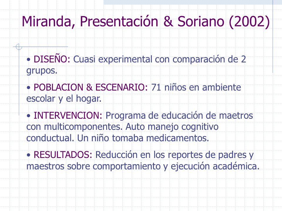 Miranda, Presentación & Soriano (2002) DISEÑO: Cuasi experimental con comparación de 2 grupos. POBLACION & ESCENARIO: 71 niños en ambiente escolar y e